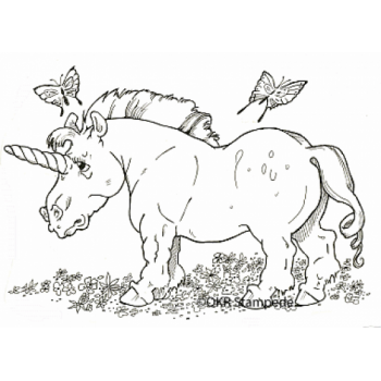 Unicorn and Butterflies Digital Stamp