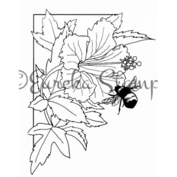 Hybiscus & Bee Digital Stamp