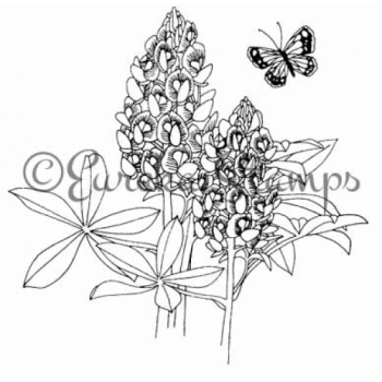 Butterfly and Bluebonnet Digital Stamp