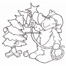 Cowboy Christmas Tree Digital Stamp