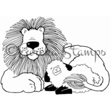 Lg Lion and Lamb Digital Stamp