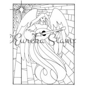 Stained Glass Angel Digital Stamp