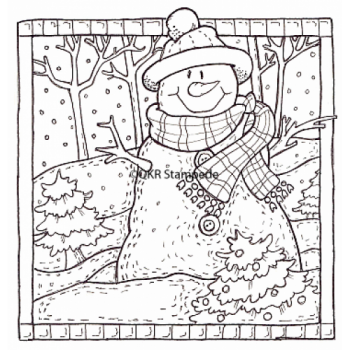 Snowman Scene Digital Stamp