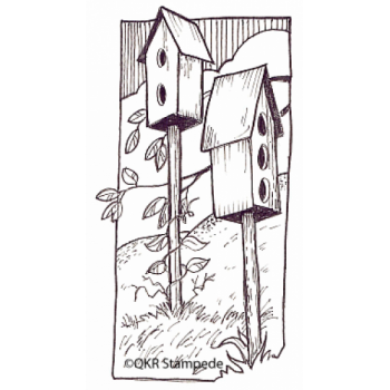 Birdhouses Digital Stamp