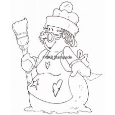 Old Lady Snowman Digital Stamp