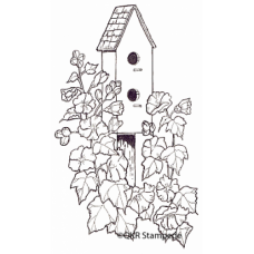 Birdhouse and Vines Digital Stamp