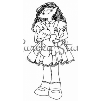 Girl with Bunny Digital Stamp
