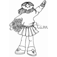Cheerleader Balloon Holder Digital Stamp