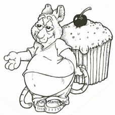 Mouse with Cupcake Digital Stamp