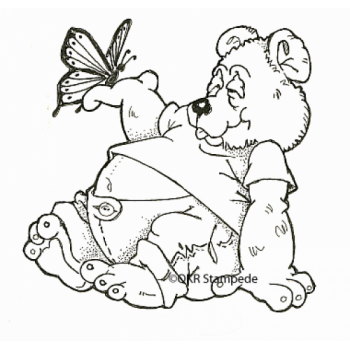 Bear and Butterfly Digital Stamp
