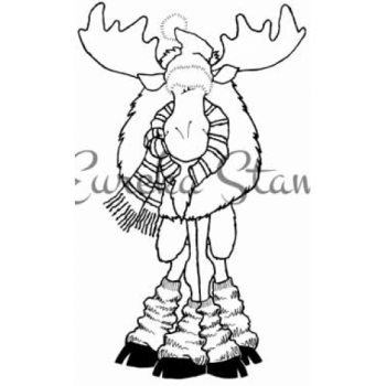 Bundled Up Moose Digital Stamp