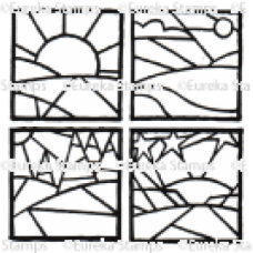 Sunrise, Day, Trees, Sunset set of 4 Digital Stamp