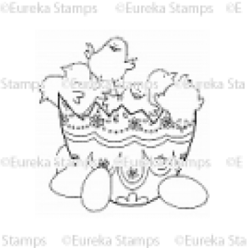 Chicks in Egg Digital Stamp