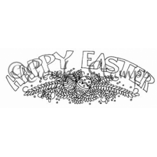 Happy Easter with Bouquet Digital Stamp