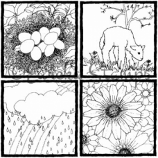 Spring Set of 4 Digital Stamp