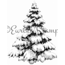 Snowy Christmas Tree Digital Stamp