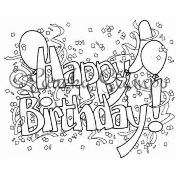 Happy Birthday with Balloons Digital Stamp