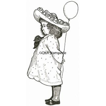 Girl with Balloon Digital Stamp