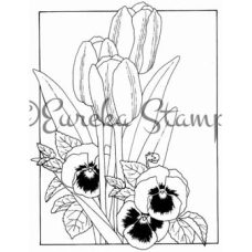 Tulip and Pansy Frame Digital Stamp