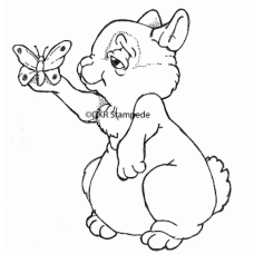 Bunny and Butterfly Digital Stamp