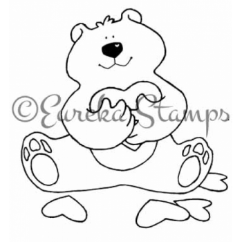 Bear with Heart Digital Stamp