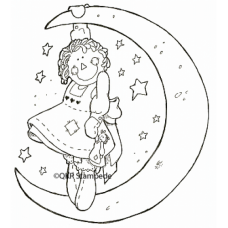 Hanging From the Moon Digital Stamp