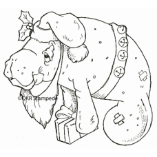 Santa Manatee Digital Stamp
