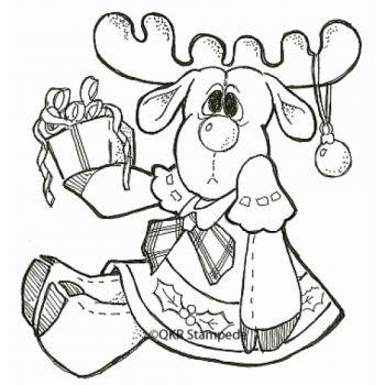 Christmas Moose Digital Stamp