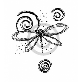 Dragonfly Swirl Cling Stamp