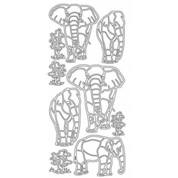 Elephants 3 Outline Stickers 2293