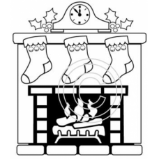 Fireplace and Stocking Art Acetate