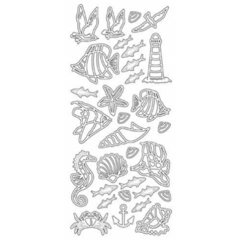 Fish/Sealife/Shells Outline Stickers