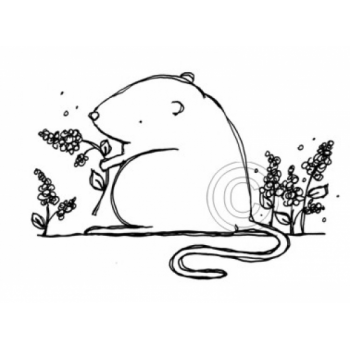 Flower Mouse Cling Stamp