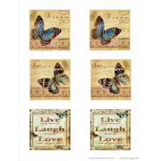 Inspirational Butterfly Squares 1, Vintage Hue Acetate