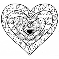 Love you Heart Cling Stamp