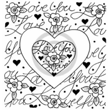 Love you Heart Frame Cling Stamp