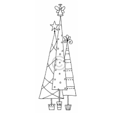 Potted Christmas Trees Cling Stamp AS 1543