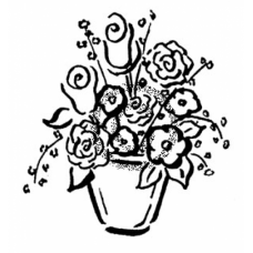 potted Flowers Cling Stamp