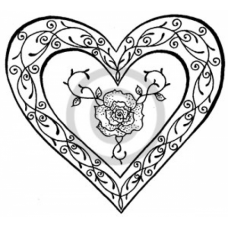 Rose Heart Cling Stamp