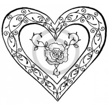 Rose Heart (S) Cling Stamp