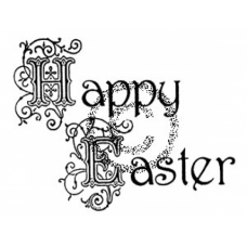 Scroll Happy Easter Cling Stamp