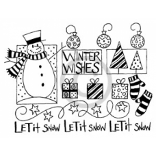 Snowman Collage Cling Stamp