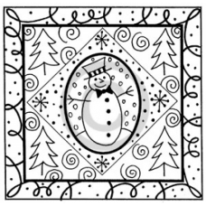Snowman Frame Cling Stamp
