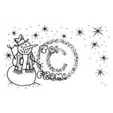 Snowman Gift Tag Cling Stamp