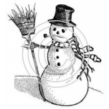 Snowman with Broom Art Acetate