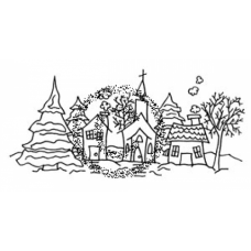 Snowy Village Cling Stamp