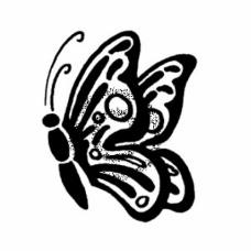 Stenciled Butterfly Cling Stamp