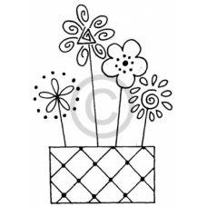 Stick Flowers Cling Stamp