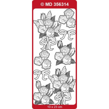 Sticker, Double Embossed Rose Arrangements