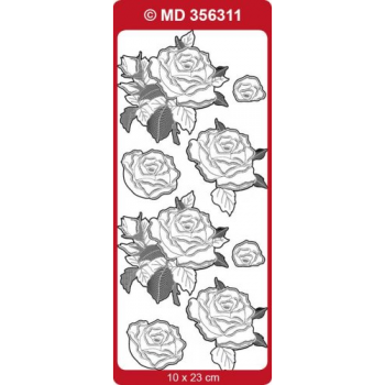 Sticker, Double Embossed Roses